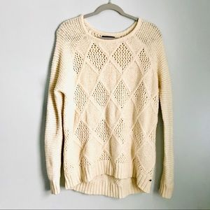 American Eagle Cream Cable Knit Crew Neck Sweater